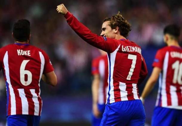 Griezmann festeggia il suo gol contro il Leicester all'andata, al Calderòn. | performgroup.com