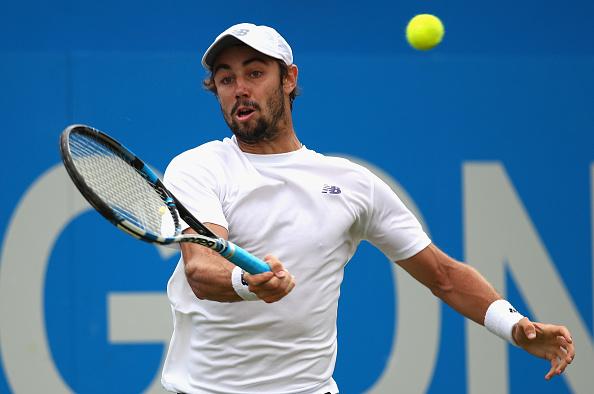 Jordan Thompson plays a return (Photo: Clive Brunskill/Getty Images)