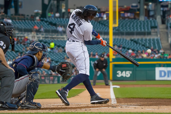 Cameron Maybin #4 of the Detroit Tigers hits an RBI double in the first inning during a MLB game against the Minnesota Twins at Comerica Park on September 14, 2016 in Detroit, Michigan. (Sept. 13, 2016 - Source: Dave Reginek/Getty Images North America)