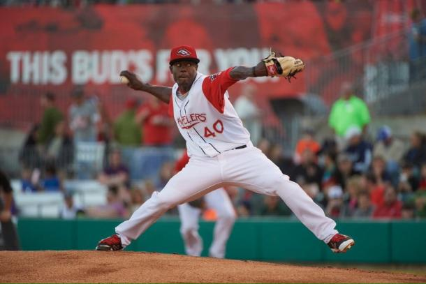 Victor Alcantara makes his first relief appearance in the 2016 season for Double-A Arkansas. (Robbie Aaron)
