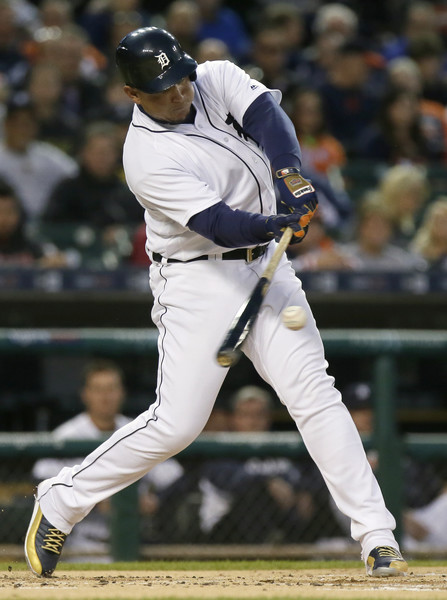 Miguel Cabrera #24 of the Detroit Tigers hits a two-run double against the Cleveland Indians during the first inning. (Duane Burleson/Getty Images)
