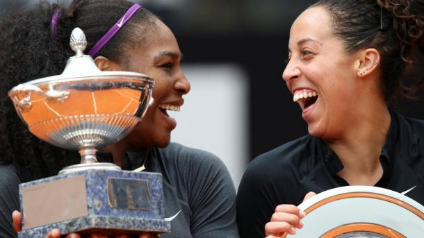 Serena Williams and Madison Keys shares some laughter between them during the trophy ceremony in Rome |Photo: Reuters