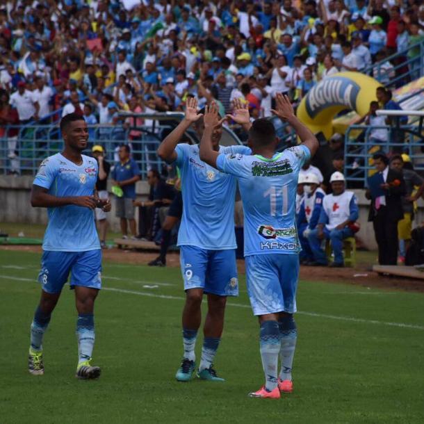 Ray Vanegas celebrando su gol ante Bucaramanga.   Foto: Jaguares De Córdoba F.C.