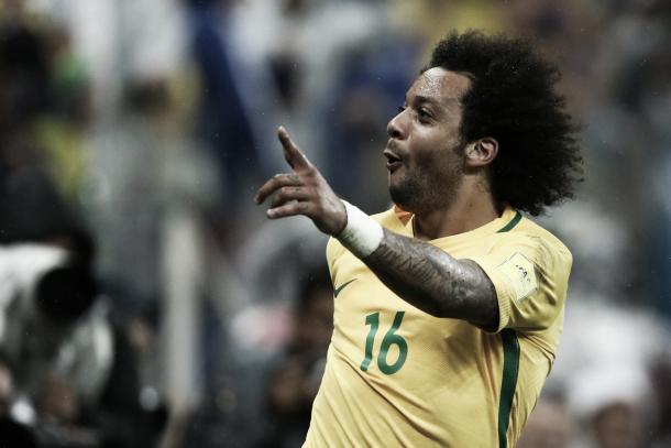 Marcelo festeja la buena racha de su país   Foto: Confederação Brasileira de Futebol
