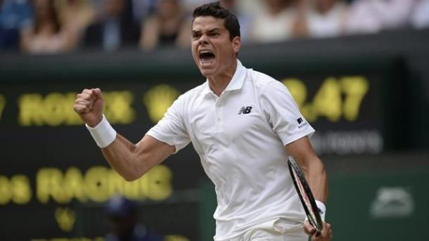 Raonic celebrates his semi-final win against Federer | Photo: Getty