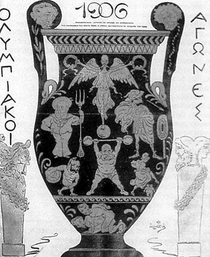 Cartel de los Juegos Intercalados (o Panhelénicos) de 1906 en Atenas. PD.