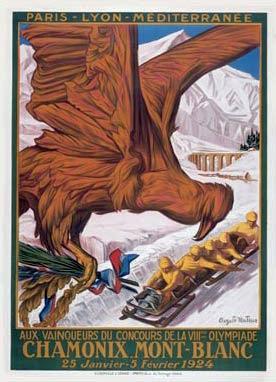Cartel de los Juegos Olímpicos de Invierno de Chamonix 1924. PD.