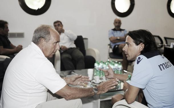 Ventura, treinador da Azzurra, e Inzaghi  (Foto: Divulgação/Lazio)