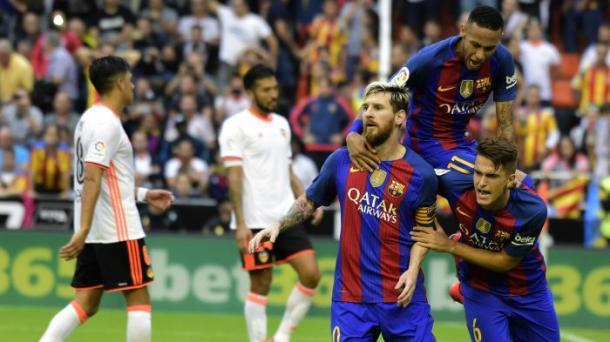 Il 3-2 contestatissimo di Messi nel finale di Valencia-Barcellona (fonte foto: Sport.es)