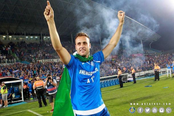 Juan Cala, celebrando el ascenso a primera división // Fuente: Getafe CF