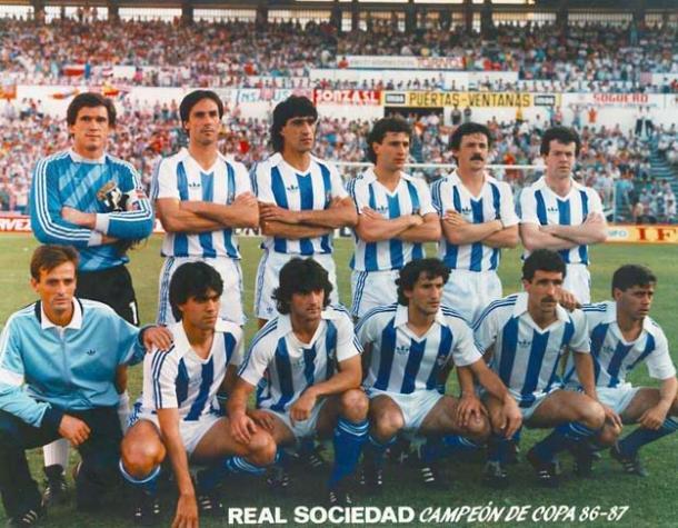 Esta fue la alineación que sacó la Real Sociedad en la final de Copa de 1987. Fuente: futbolpitiuso.es