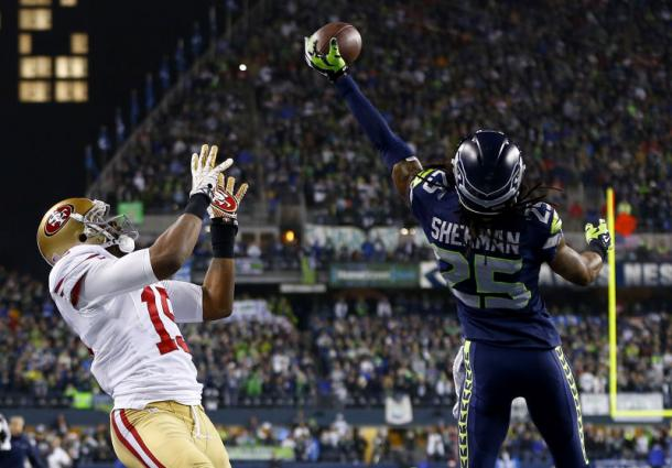 This interception by Sherman against the San Francisco 49ers led him to his first ever Super Bowl appearance | Source