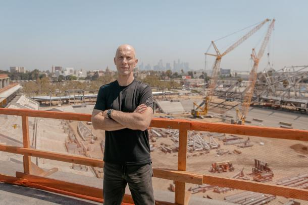 Bob Bradley at the site of LAFC's new stadium (Photo: LAFC)