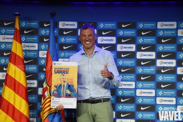 Sarunas Jasikevicius durante su presentación como nuevo técnico del Barça | Fuente: Noelia Déniz, VAVEL