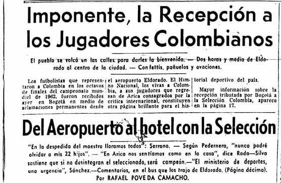 Recibimiento a la selección Colombia, 10 de junio de 1962 I Foto: EL TIEMPO