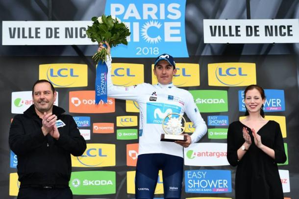 Marc Soler además de llevarse el maillot amarillo, también conquistó el maillot blanco como el mejor de los jóvenes | Foto: París-Niza
