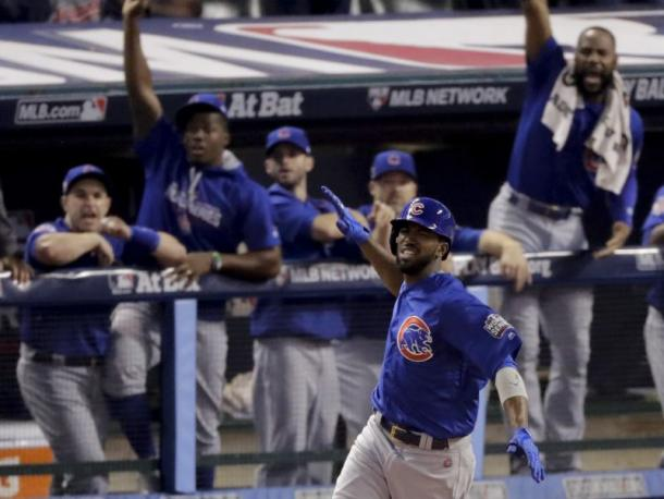 Dexter Fowler celebrates after his leadoff homerun in game 7 of the World Series/CSN Chicago