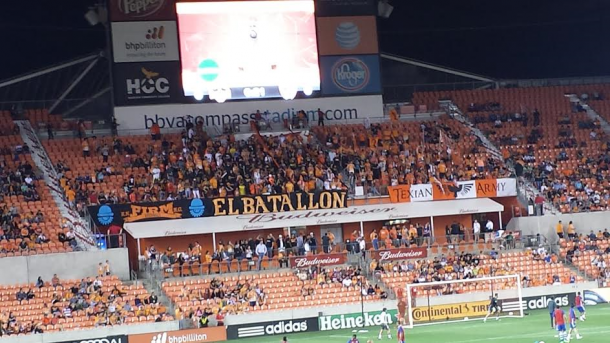 Houston Dynamo supporter groups ahead of first rivalry match in 2016. Photo by author.