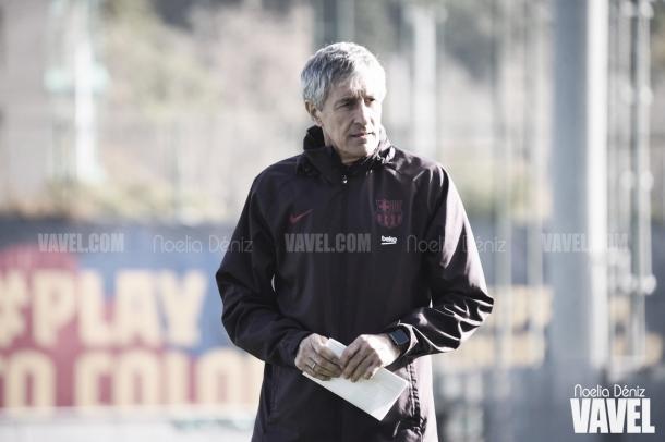 Quique Setién durante un entrenamiento en la presente temporada. | Foto: Noelia Déniz (VAVEL)