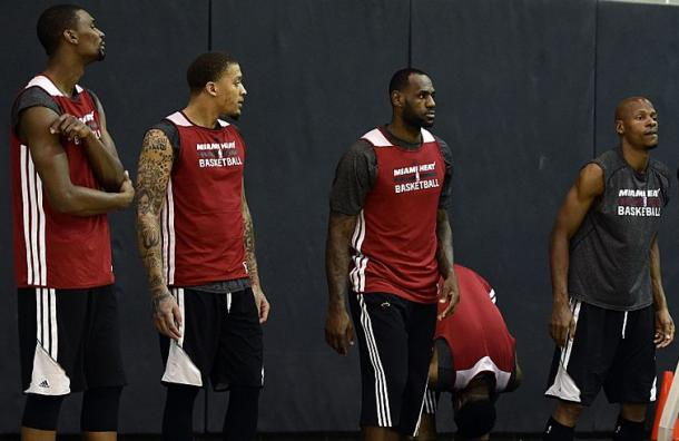 Miami Heat center Chris Bosh (1) forward Michael Beasley (8) forward LeBron James (6) and guard Ray Allen (34) during practice before game 2 of the 2014 NBA Finals. |Bob Donnan-USA TODAY Sports|