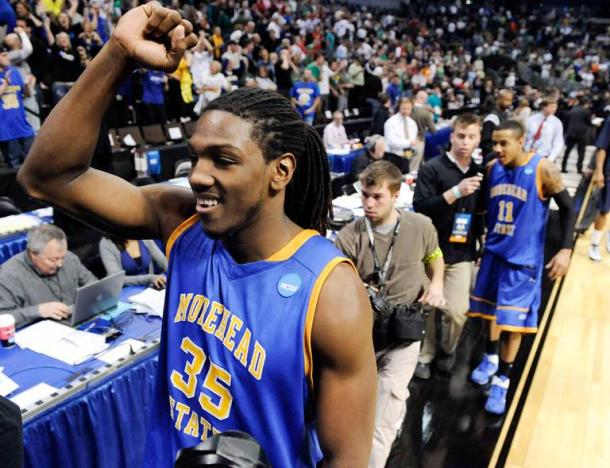 Morehead State forward/center Kenneth Faried (35) celebrates after beating Louisville 62-61 in a Southwest regional second round NCAA tournament college basketball game, Thursday, March 17, 2011, in Denver. (AP Photo/Jack Dempsey) ASSOCIATED PRESS