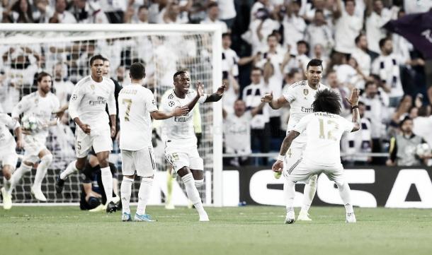 El Real Madrid celebra un gol ante el Galatasaray en el Santiago Bernabéu | Foto: Real Madrid