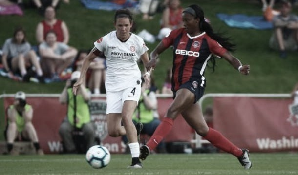Emily Menges made her 100th career appearance for the Thorns in this match. Photo: www.twitter.com/ThornsFC