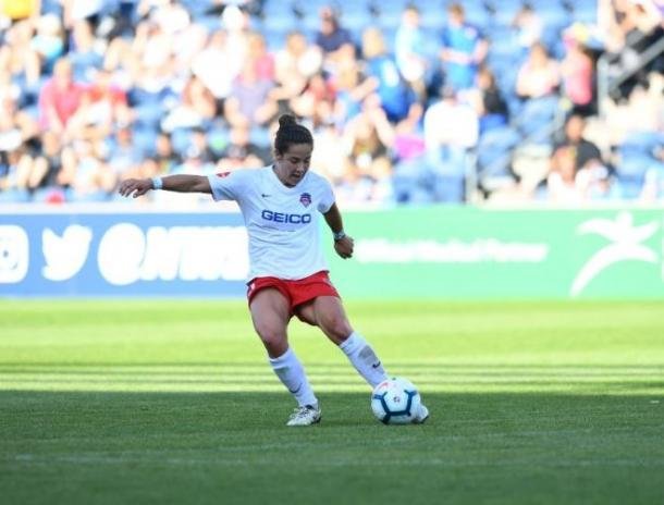 Paige Nielsen cleared the ball off the line for the Spirit in the 7th minute. Photo: www.twitter.com/WashSpirit
