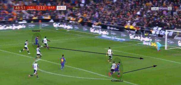 Coutinho, con un gran desmarque, logró su primer gol como azulgrana | Jordi Grífol - VAVEL