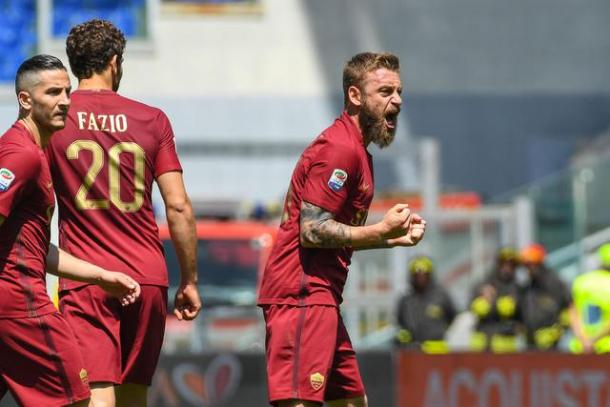 De Rossi esulta dopo aver segnato nell'ultimo derby. | ansa.it