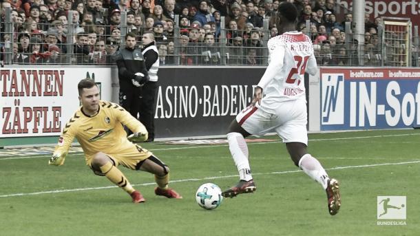 Augustin con una chance para el RB Leipzig | Foto: Twitter: @Bundesliga_DE