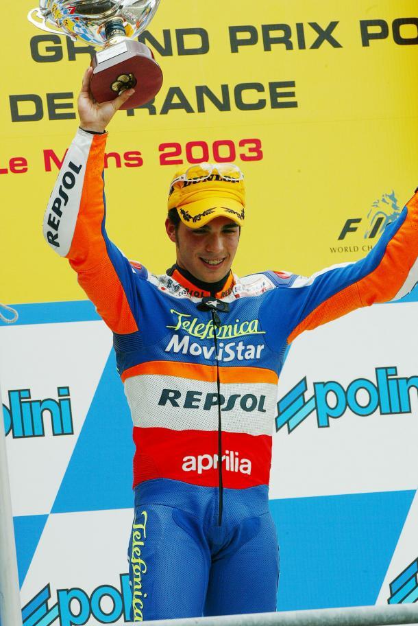 Toni Elías celebra la victoria en Le Mans 2003 / Foto: Repsol