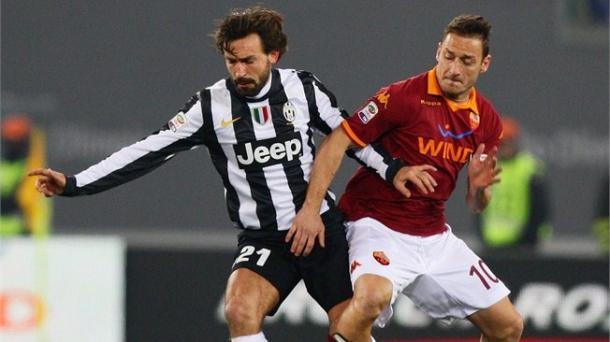 Dos símbolos de Juve y Roma, Andrea Pirlo y Totti   Foto: Gettyimages