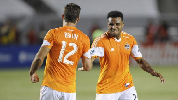 Will Bruin (Left) and Giles Barnes (Right) will need to provide the break through goal against the LA Galaxy on Friday at the BBVA Compass Stadium. Photo provided by USA TODAY Sports.