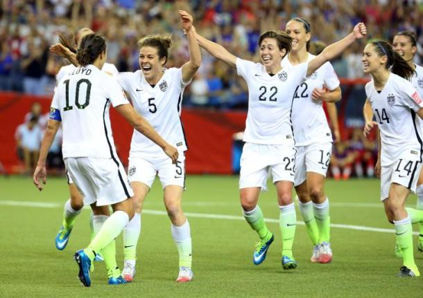 The United States celebrating their 2-0 victory over Germany in the semifinal match up of the 2015 Women's World Cup. Photo provided by Reuters.