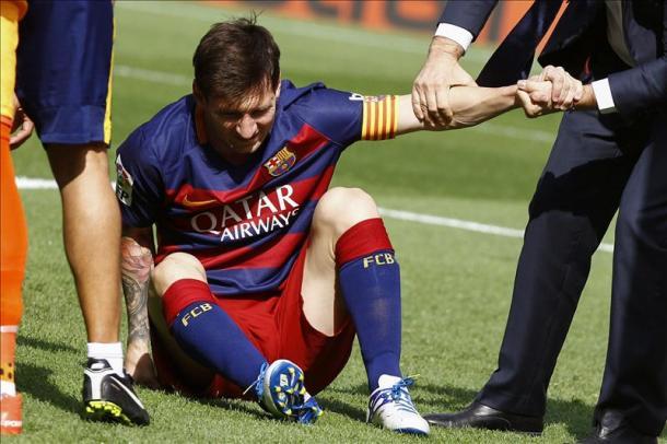Messi el momento de su lesión ante la UD Las Palmas I Fuente: ligabbva