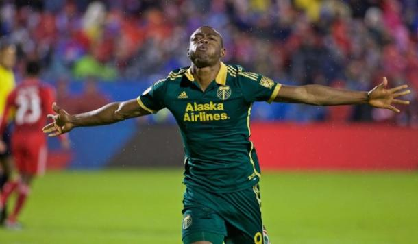 Fanendo Adi will be searching for fifth goal of the season on Saturday against the San Jose Earthquakes. Photo provided by the Portland Timbers.