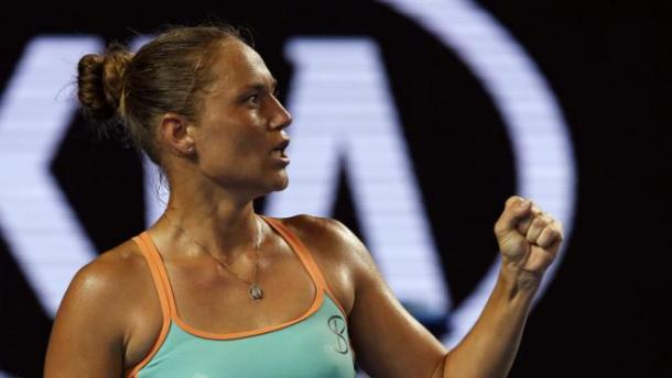 Bondarenko pumps herself up during the 2nd round matchup. (Photo Courtesy of: REUTERS/Jason Reed)