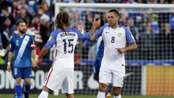 Kyle Beckerman (Center) and Clint Dempsey (Back) won their battles in their respective positions against Guatemala on Tuesday in Columbus, Ohio, Photo provided by AP Photo.