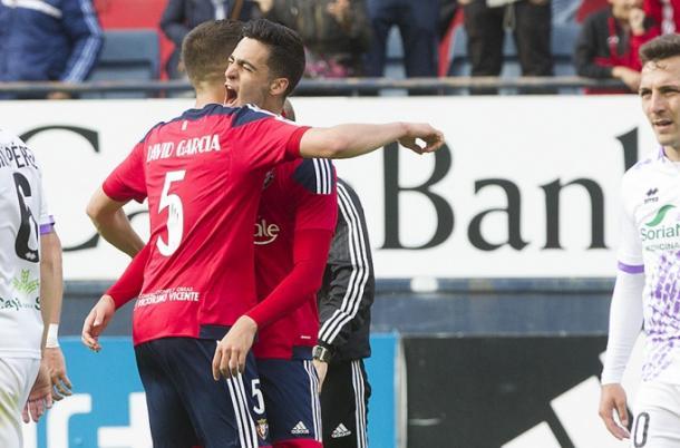 Los canteranos David García y Merino celebran un gol. Foto: Osasuna