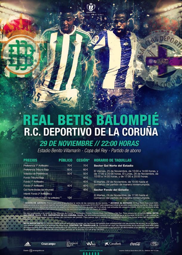 Cartel en el que se detallan los precios para dieciseisavos de Copa del Rey entre Real Betis y Deportivo | Foto: Real Betis