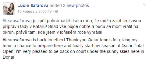 Safarova confirms her return | Photo via Lucie's Facebook page