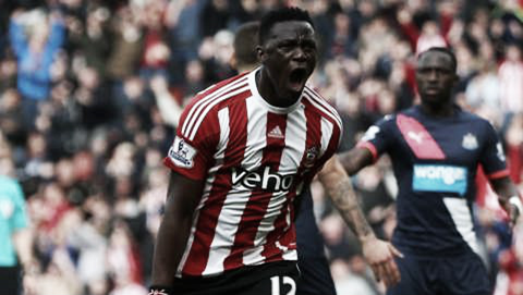 Victor Wanyama celebrates scoring his first goal for 17 months. Credit: www.saintsfc.co.uk