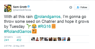 Groth seems to be keen for the match to be moved to grass (Photo: Twitter/Sam Groth)