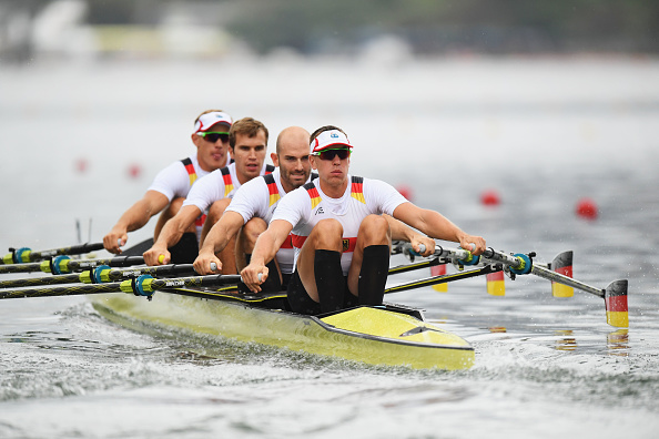 Philipp Wende, Lauritz Schoof, Karl Schulze and Hans Gruhne of Germany compete in the Men's Quadruple Sculls Repechage 1 (Photo: Matthias Hangst/Getty Images)