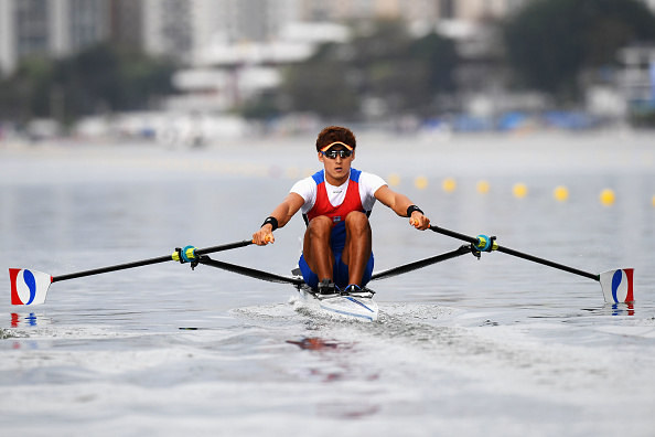 Kim Dongyong of Korea competes in the Men's Single Sculls Repechage 2 (Photo: Matthias Hangst/Getty Images)