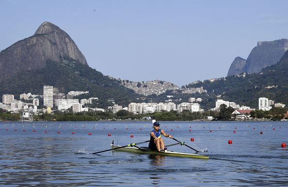 Sweden's Anna Malvina Svennung competes in the Women's Single Sculls rowing competition (Photo: Damien Meyer/Getty Images)