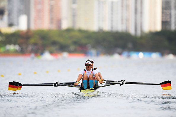 Ronja Sturm of Germany and Marie-Louise Drager of Germany compete during the Lightweight Women's Double Sculls Heat 4 (Photo: Matthias Hangst/Getty Images)