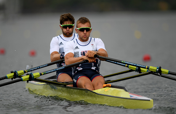 Jonathan Walton, left, and John Collins of Great Britain in action during the Men's Double Sculls repechage (Photo: Brendan Moran/Getty Images)