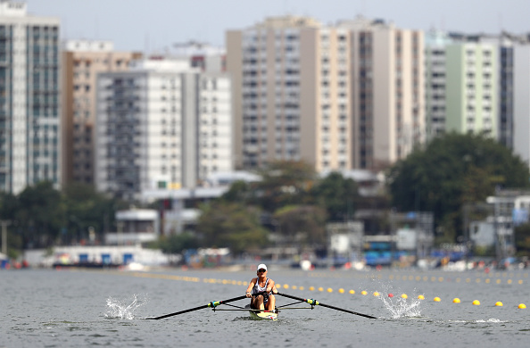elen Glover and Heather Stanning of Great Britain in action during the Women's Pair Repechage one (Photo: Paul Hilham/Getty Images)